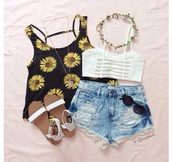 t-shirt,shirt,top,clothes,fashion,flower crown,blouse,black,yellow,white,shorts,style,denim shorts,shoes,sandals,jewels,crop tops,cute,bralette,white sandals,tank top,hair accessory,flowers,daises,sleeveless,summer top,cute top,sunflower,strappy,open back,teen girl,sun flower