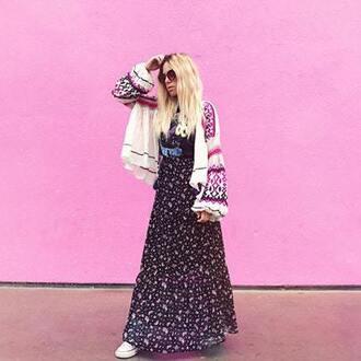 t-shirt blogger blogger style maxi skirt printed skirt boho hippie band t-shirt oversized cardigan