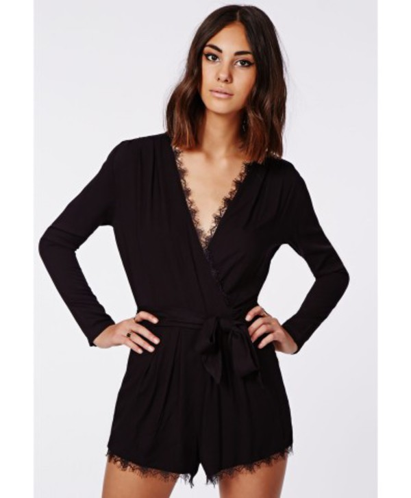 12e1c110ea1a Missguided - Myra Lace Trim Tie Front Wrap Playsuit Black