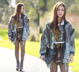 jacket denim bag t-shirt skirt shoes platform shoes denim jacket polka dots patch pattern