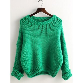 sweater green long sleeves knitwear preppy style drop shoulder knitted solid color pullover sweater for women warm cozy trendy cool rose wholesale-dec