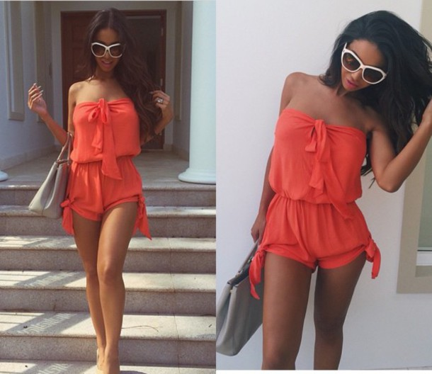 jumpsuit orange dress romper romper jumpsuit fashion beach dress summer dress shorts onesie peach dress dress jumpsuit orange peach top tank top dress bandeau peach/pink beachwear