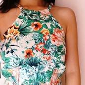 t-shirt,top,flowers,tropical,high neck,floral,palm tree print,halter top,blouse,tropical shirt,orange,white,flowers skirt,tank top,crop tops,floral tank top,shirt