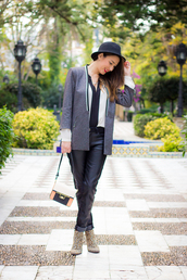 shoes and basics,blogger,bag,blazer,leopard print high heels,hat,blouse