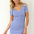 Blue Day Dress - Blue Striped Short Sleeve Dress | UsTrendy