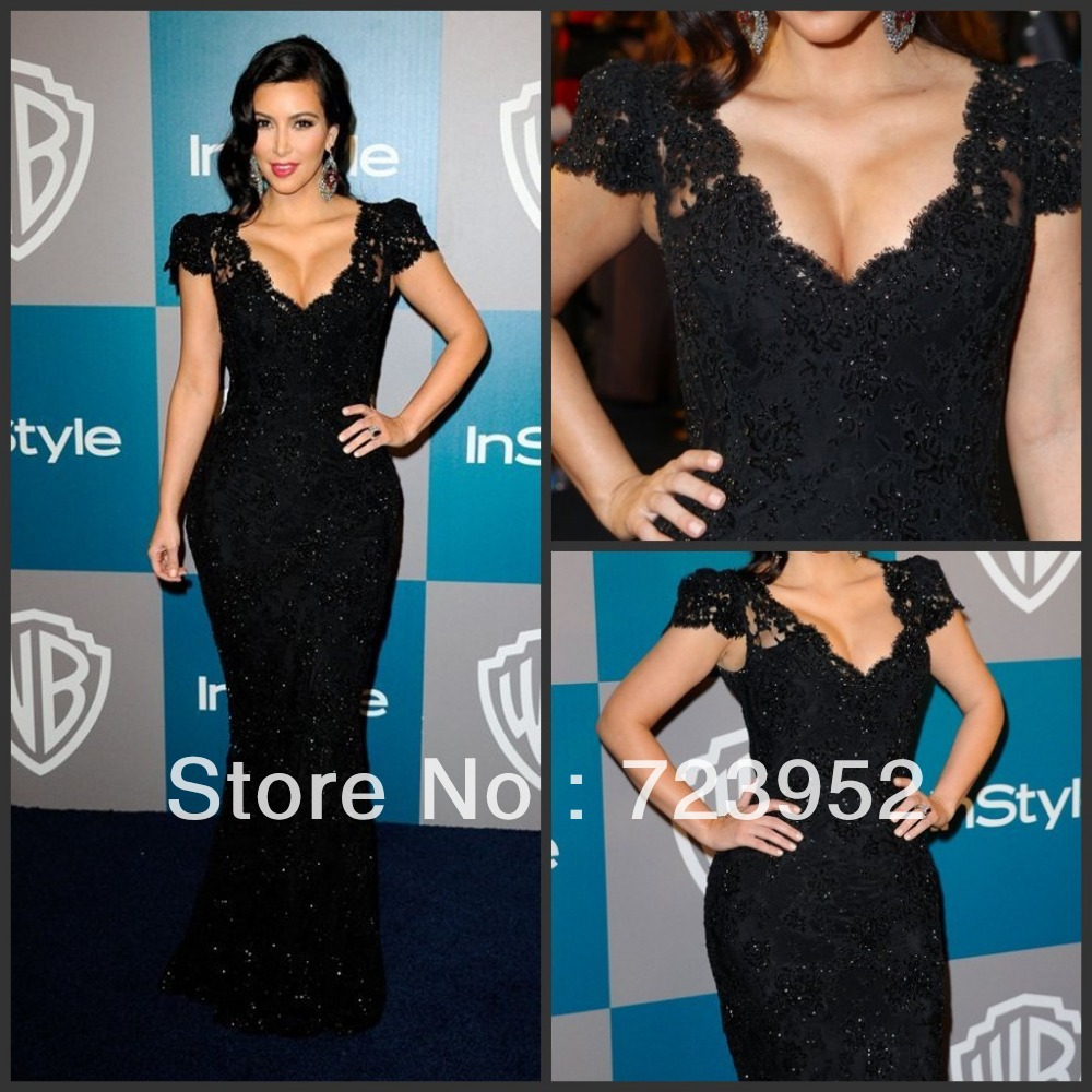 com : Buy Cap Sleeve Black Lace Mermaid Dress Luxury Beading Kim ...