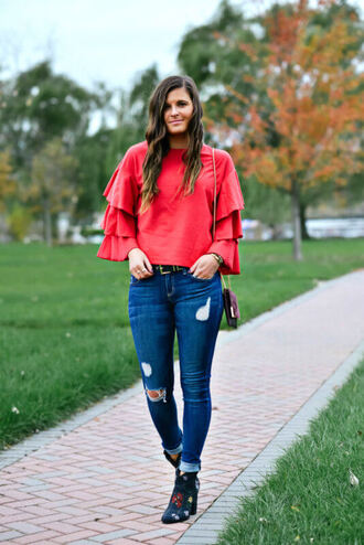 to be bright blogger blouse sweater jeans shoes fall outfits red blouse ankle boots