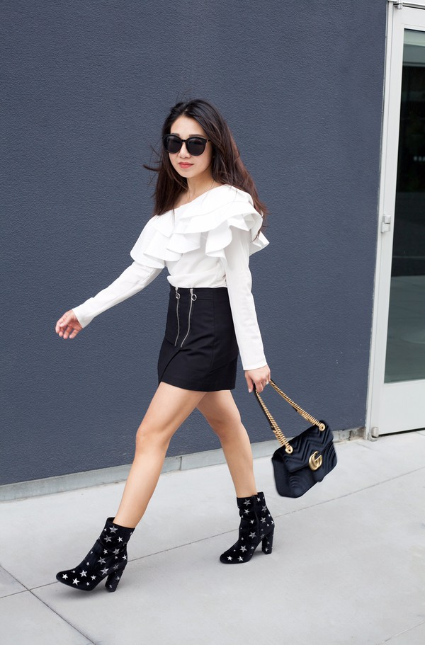 posh classy mom – a lifestyle blog by sheree blogger top shoes skirt t-shirt bag ankle boots gucci gucci bag ruffled blouse black skirt spring outfits