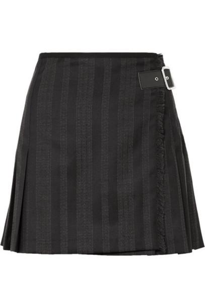 McQ Alexander McQueen - Wrap-effect Striped Wool-blend Jacquard Mini Skirt - Black
