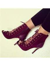 shoes,burgundy shoes,high heels boots,suede boots,peep toe boots