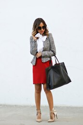 lace and locks,blogger,bag,shoes,sunglasses,black bag,work outfits,red skirt,scalloped,fall outfits,blazer,bow,white shirt