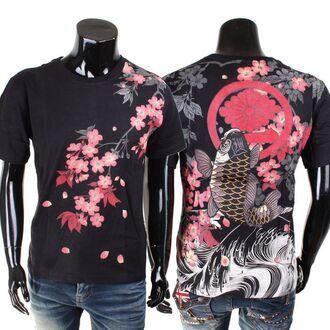 shirt black pink cherry blossom koi fish japanese mens t-shirt red black and pink black and red