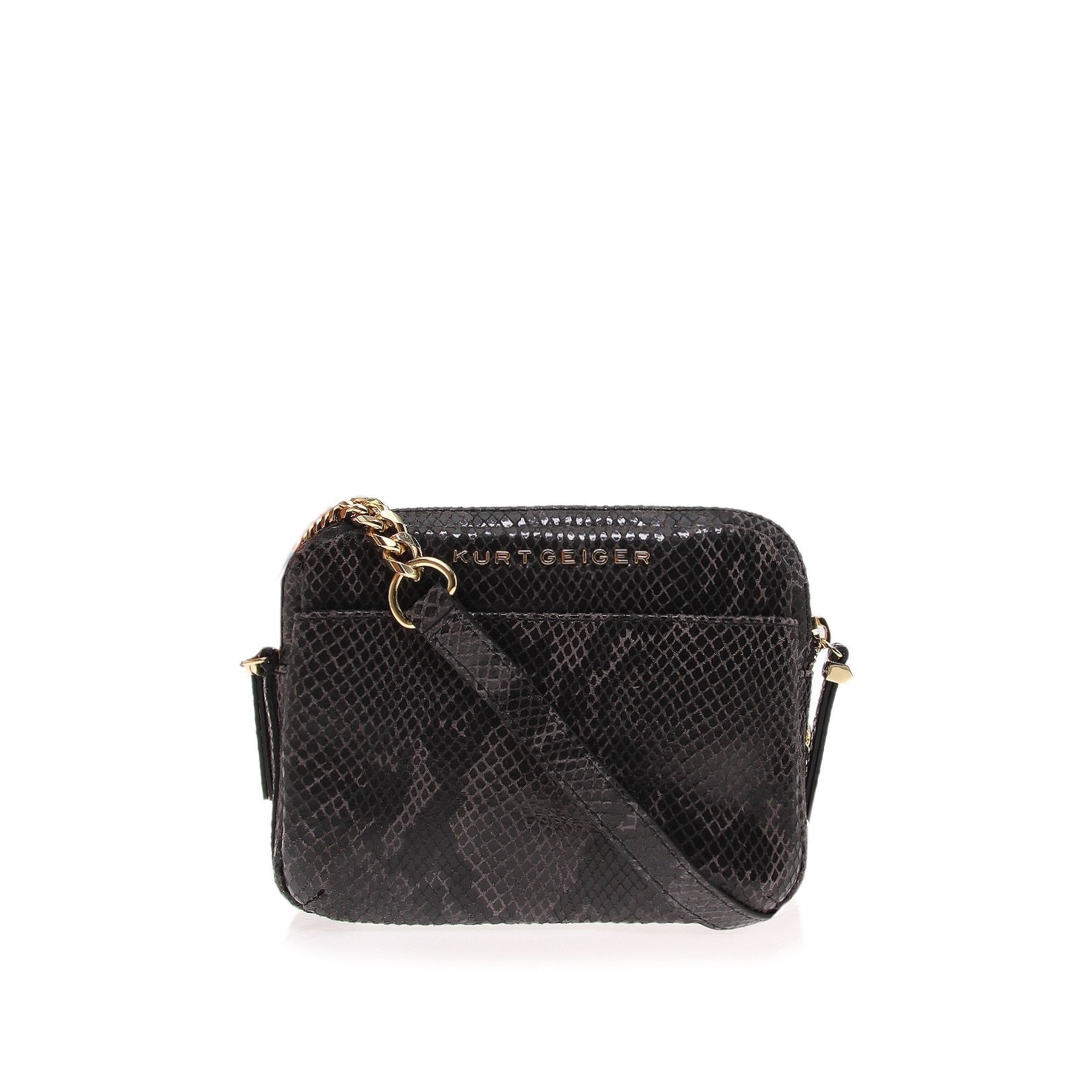 Double zip sml crossbody black cross body bag by kurt geiger london