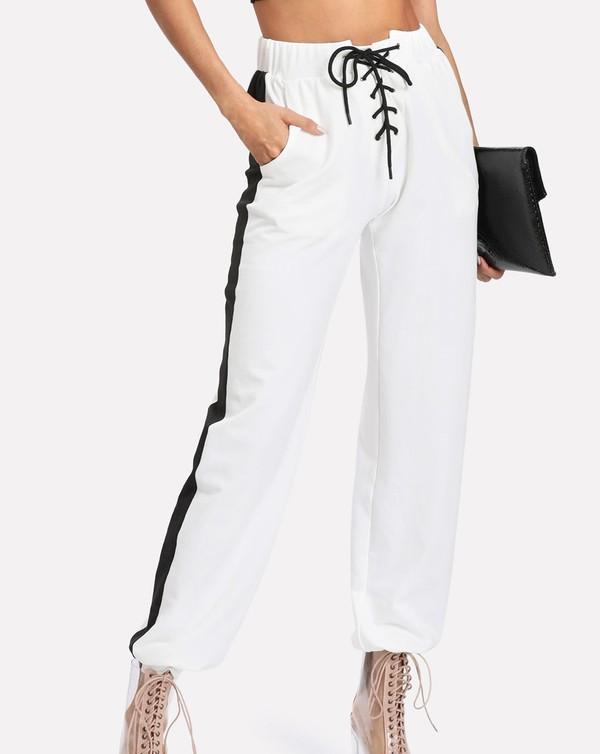 pants girly white black joggers joggers pants sweatpants lace up