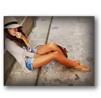 hat shirt fashion style cardigan cute sandals nude sandals shoes shorts cuffed shorts