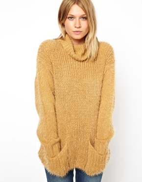 ASOS | ASOS Sweater With Cowl Neck In Fluffy Yarn at ASOS
