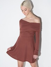 dress,valerie brown off the shoulder dress,brown dress,knitted dress,pixiemarket,off the shoulder,off the shoulder dress,off the shoulder sweater,fit and flare dress,winter outfits,special occasion dress,cute dress
