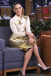 skirt,pleated,metallic,gold,midi skirt,pumps,shirt,top,blouse,vanessa hudgens,celebrity
