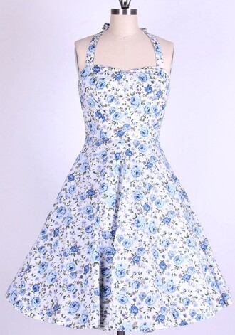 50s style swing swing dress long dress housewife dress halter dress vintage drss vintage retro pin up blue dress 1950s dress rockabilly