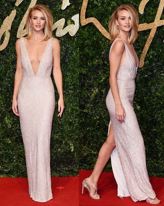 dress gown plunge v neck rosie huntington-whiteley sandals sandal heels high heel sandals sparkly dress prom dress prom gown red carpet dress shoes