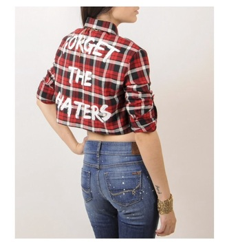 shirt forget the haters flannel shirt plaid crop tops