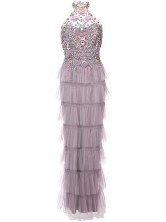 gown women embellished purple pink dress