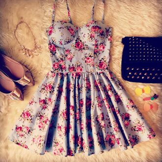 roses bustier dress floral dress light blue spring dress summer dress studded bag outfit idea skater skirt ballet flats pointed toe nastygal