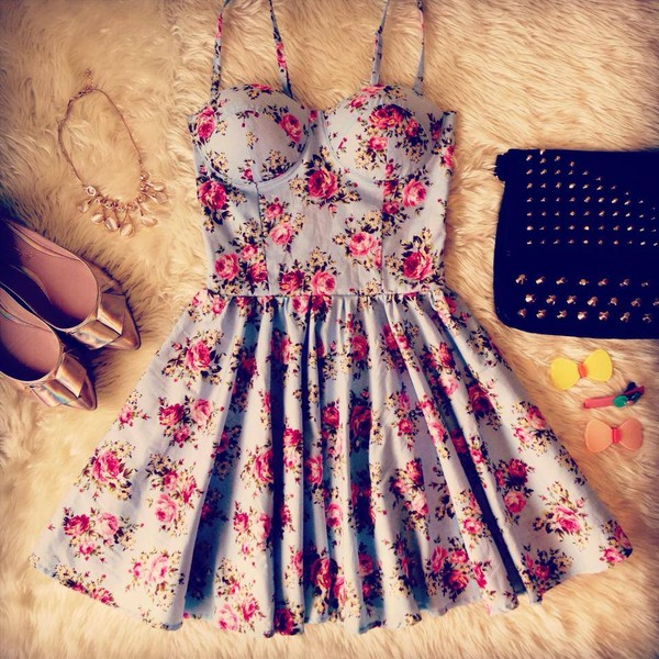 roses bustier dress floral dress light blue spring dress summer dress studded bag outfit idea skater skirt hair pin ballet flats pointed toe floral dress dress floral bustier