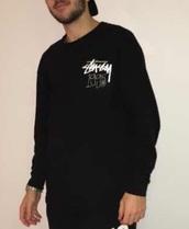 shirt,stussy t-shirt,stussy black,black,1995,stussy,stussy sweatshirt