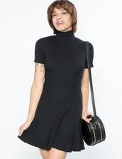 dress,turtleneck dress,mock neck dress,knitted dress,fit and flare,little black dress,pixie market,pixie market girl
