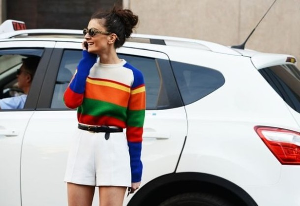 Sweater: fashion, red, blue, green, easy fit, stripes, yellow ...