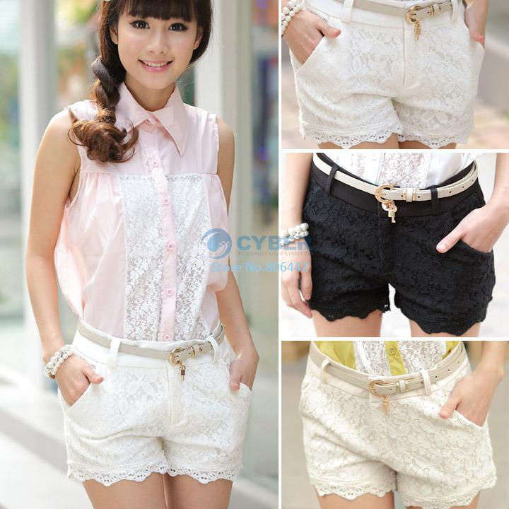 Buy women 2014 new summer fashion high waist front zip lace crochet black/white/apricot hot pants shorts b14 sv004824, $12.46