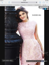 kylie jenner,sherri hill,homecoming dress,dress,pink,pink dress,semi formal,pretty,elegant,beaded,light pink,floral,beautiful,mini
