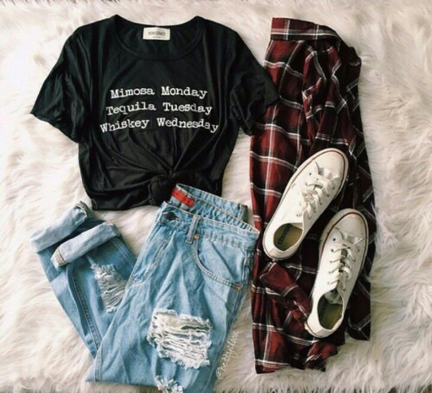 t-shirt, black, tumblr, quote on it, monday, tumblr ...