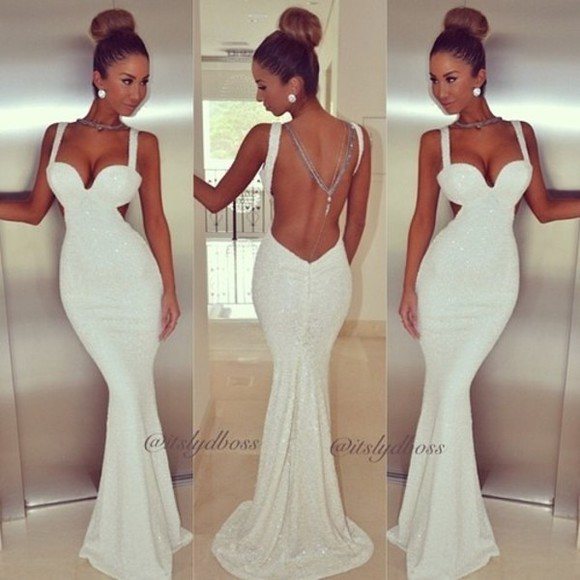 dress white dress sweetheart neckline gorgeous backless cutout floor length dress