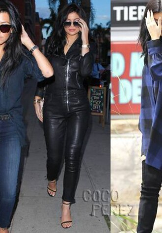 jumpsuit kylie jenner keeping up with the kardashians kourtney kardashian leather jacket leather pants leather leggings
