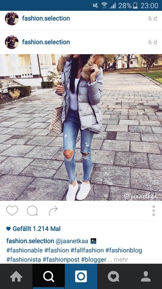 jacket grey jacket fur stylish trendy