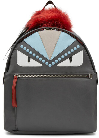 fur bag backpack grey