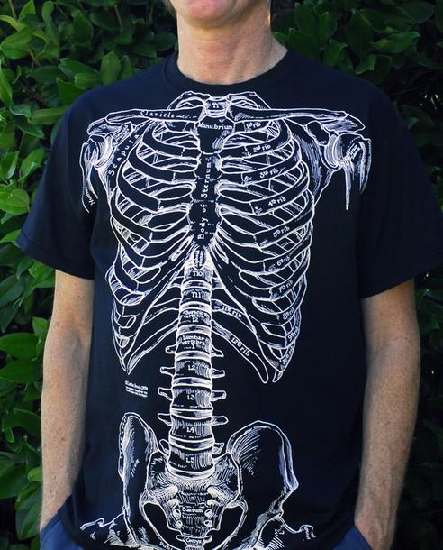 t-shirt, rib cage, bones, bones, human anatomy, shirt ...