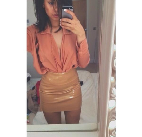 shirt peach blouse button up skirt tan leather