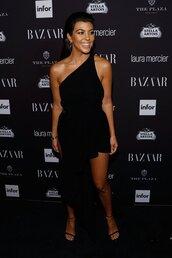 dress,kourtney kardashian,black dress,asymmetrical dress,asymmetrical,sandals,kardashians,NY Fashion Week 2016