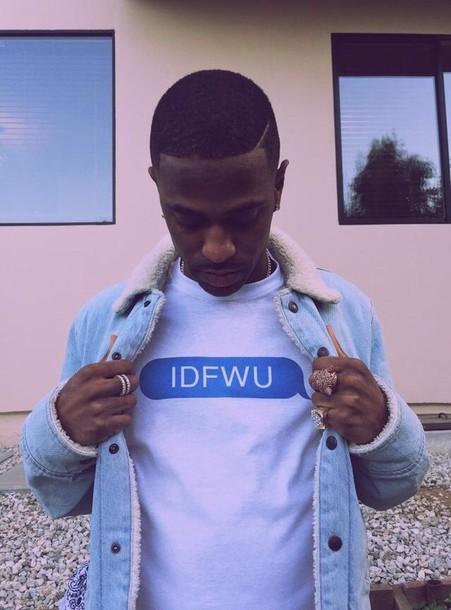 t-shirt menswear mens t-shirt text tee blue white text bubble idfwu idfwu tank shirt big sean t-shirt big sean idfwu