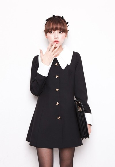 black white collar dress peter pan collar modern vintage