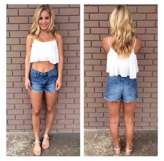 shirt crop tops white denim shorts