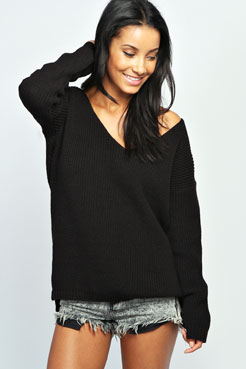 Sasha Oversized V Neck Jumper at boohoo.com