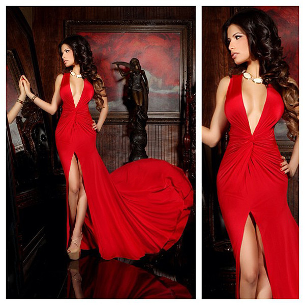 evening dress prom dress slit prom dress party dress sexy prom dress v neck prom dress cocktail dress wedding party dress