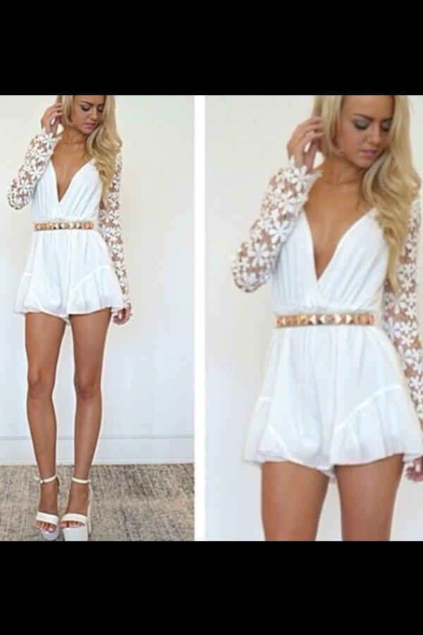 dress fowersleeve white dress romper