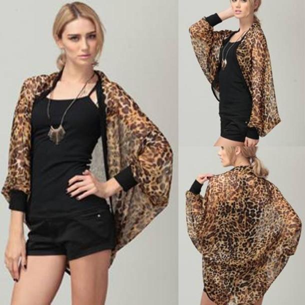 7d32121412ed blouse leopard print chiffon cardigan kimono