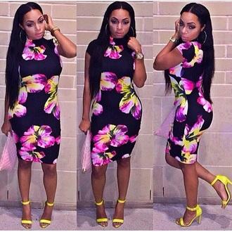 dress neon neon dress fashion floral dress midi dress bodycon dress bodycon