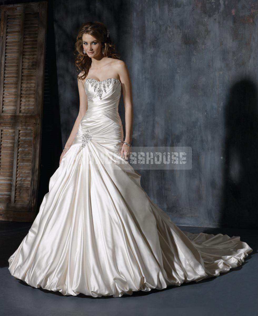 Long Satin Lace-up Beading A-line Wedding Dress - Promdresshouse.com